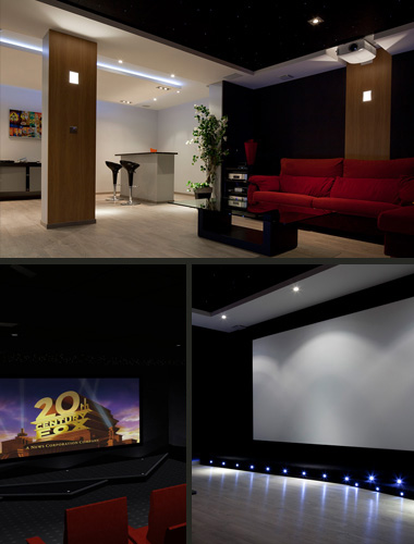 Installation d'un home cinema dans une Family Room